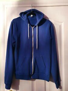 American Apparel Royal Blue Zip Up Hoodie Size Medium Unisex Retro