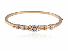 Elegant 1.34 Cts Natural Diamonds Hinged Bangle Bracelet In Fine 18K Yellow Gold