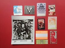 ALICE COOPER,promo photo,8 Original Backstage passes,1975 Ticket,Various Tours