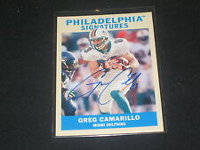 GREG CAMARILLO DOLPHINS UD CERTIFIED AUTHENTIC SIGNED AUTOGRAPHED FOOTBALL CARD