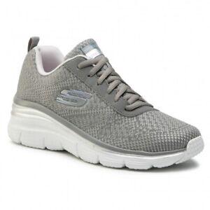 SKECHERS Fashion Fit, Sneakers Woman with Memory Foam, Grey, lacci, 12719