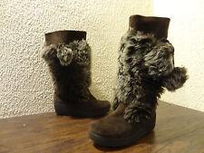 Report ELLIE Women Size 8 Brown Suede Faux Fur Pom Pom Wedge Heel Mid Calf Boot