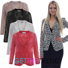 WOMENS LACE BLAZER LADIES ALL OVER FLORAL LACEY BUTTONED JACKET LIGHTWEIGHT