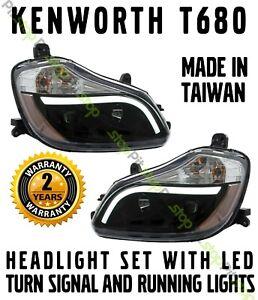 Kenworth T680 Black Projector Headlights Set Driver Passenger Pair LED