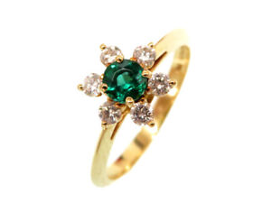 TIFFANY&Co. Butter cup Ring Green Emerald/diamond K18YG 750 #10(JP Size) 0375