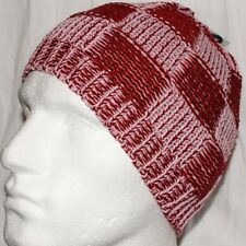 Hat Knit Knitted Beanie Pink Check one size Mens Ladies Kids  Unisex