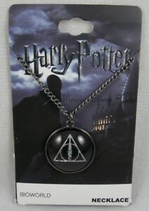 New Harry Potter Hogwarts Deathly Hallows Holographic Logo Dome Pendant Necklace