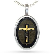Sterling SILVER CROSS Jesucristo Crucifijo Collar 24K oro inscrito Onyx