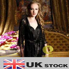 Dentelle noire + tache nuisette robe set 3PCS set sexy ligerie sleepwear vendeur britannique W42