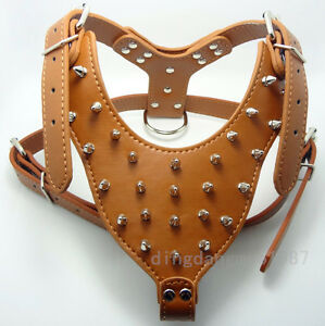 New Spiked&Studded Brown Leather Dog Harness Pit bull Bully Husky Boxer Terrier