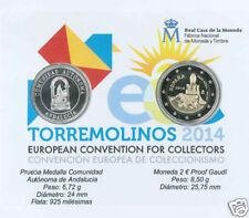 manueduc   ESPAÑA   2014  BLITER   2 EUROS PROOF GAUDI  GUELL y Medalla PLATA