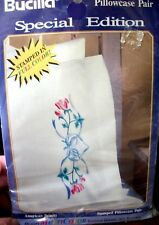 "COLORTEX Bucilla Stamped Embroidery Pillowcases ""AMERICAN BEAUTY"""