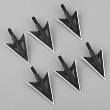 6pcs Sharp Broadheads 2 Blade Metal Archery hunting Arrow Tips 100 Grain Black