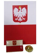 Poland Polska Polish Eagle Crest Rectangular Bike Motorcycle Hat Cap lapel Pin