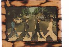 THE BEATLES  COVER OFTHE ABBEY ROAD LP REPRODUCED ON A UNIQUE WOODEN PLAQUE