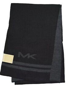 Michael Kors Men Big Logo Bottom Stripe Muffler Scarf, Black/Char