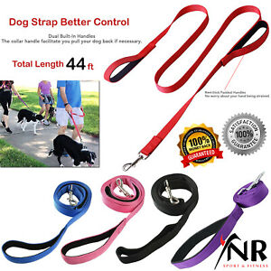 Dog Leads Hook Nylon Mesh Pet Leash with 2 Dual Traffic Padded Handle