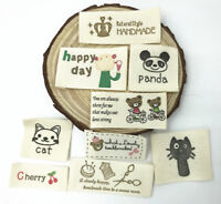 50pcs Printing cloth Tag Washable Clothing Woven Labels DIY Sewing Accessories