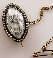 Antique 10k Gold & Seed Pearl Georgian Era Mourning Navette, Brooch c.1770-1820