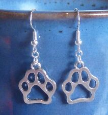 PAW Print Dog Cat Bear pierced earrings SILVER metal & .925 Sterling Handcrafted