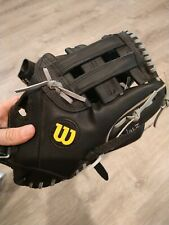 """New listing Wilson Elite A2449 13"""" Softball Glove Right Hand Throw Black Leather Oversized"""