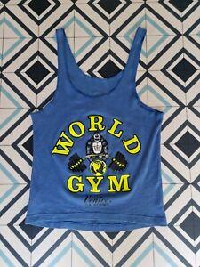 Vintage Tropicana World Gym Venice California Muscle Vest Blue Medium