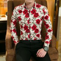Mens Nightclub Party Blouses Casual floral print Tops Button front Blouses New