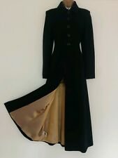 LAURA ASHLEY VINTAGE BLACK VICTORIAN STEAMPUNK STYLE WOOL CASHMERE COAT SIZE 8