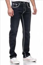 Rusty Neal Jeans Levin 7 schwarz 7444-7 Jeanshose mit Kontrastnähten