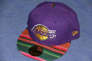 Los Angeles Lakers Cap Fitted Hat Mexican Serape New Era 59FIFTY Size 7 1/4 NBA