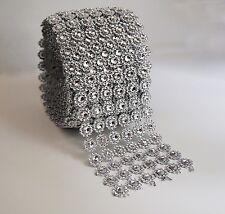 Silver Diamond Flower Bling Mesh Rhinestone Ribbon Wrap 6 Row, 4 in x 10 yard