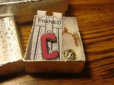 """ C "" Monogram Letter Lapel Pin W/Tie Back Safety Chain Silver Tone-PINK Enamel"