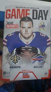BUFFALO BILLS Gameday Program Richie Incognito 11/12/17 New Orleans Saints