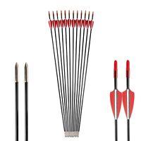 6/12/24PCS 31'' Fiberglass Arrow SP 800 For Recurve & Straight Bow Archery Hunt