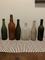 6 Vintage Glass Bottles Amber, Green Clear  prohibition Flask Soda Whiskey