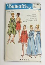"""Vintage Sewing Pattern Butterick 6289 Misses Gown & Robe Bust 36"""" Circa 1970"""
