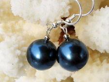 Superior De Diseño Pendientes de cadena de concha de perlas 925 Azul