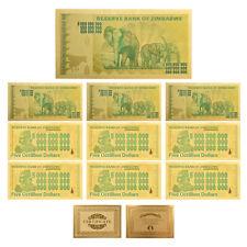 WR 10pcs Zimbabwe 5 Octillion Dollars Color Gold Banknote Money Collection +COA