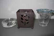 Konvolut WINDLICHT m ROSE Metall, Kerzenständer GLAS/Deckel, TEELICHTHALTER D 10