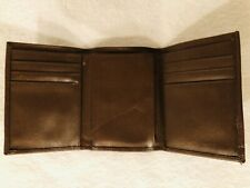Men's genuine leather trifold wallet brown
