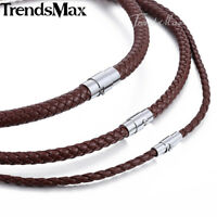 Braided Rope Cord Necklace Mens Chain Womens Brown Man-made Leather 4/6/8mm