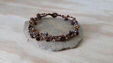 Handmade Multi LineTiger Eye Brass Bead Anklet