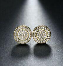 Men 14K Yellow Gold Plated Swarovski Crystal Screw Back Stud Earrings