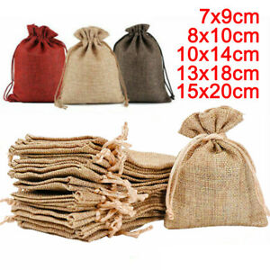 Linen Sack Drawstring Small Burlap Bags Hessian Wedding Favor Gift Candy Pouch