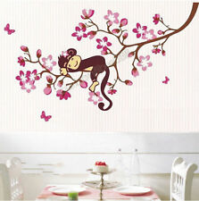 Reusable Girl Nursery Pink Flower & Monkey Vinyl Wall Stickers Decal TOP QUALITY