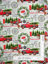 Christmas Deck The Halls Red Truck Postcard Cotton Fabric CP72426 By The Yard