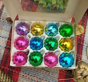 Beautiful Set 12 Sparkly Vintage Christmas Tree Baubles Ornaments Multicoloured