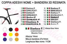 COPPIA DI ADESIVI NOME INIZIALE COGNOME BANDIERA ITALIANA 3D MOTO BICI STICKERS