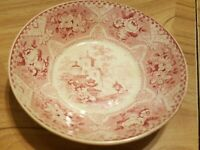 """Antique-Red Transferware-6"""" Berry Bowl-c 1830's-Scene W/Urns-FREE SHIPPING!"""