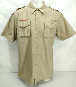 Boy Scouts Of America Uniform Shirt Large Adult Mens Button Up Short Sleeve Camp